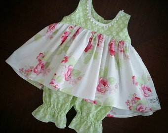 Girls Green Rose Dress/Infant Dress/Toddler Dress/Baby Clara/Party Dress/Girls Dress