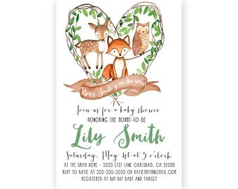Woodland Baby Shower Invitation Boy, Baby Boy Shower, Woodland Animals, Printable Invite (580)