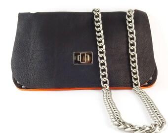 Black leather clutch, Crossbody clutch, Black leather bag