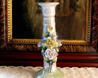 Antique German Lustreware Bisque Candlestick Candle Holder Applied Roses and Forget Me Nots