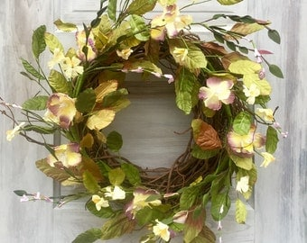Grapevine Wreath with Purple and Yellow Flowers-Wedding Centerpiece-Wedding Wreath-Spring Wreath-Easter Wreath-Free Shipping