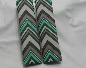 Mint and Gray Chevron Seat Belt Cover . Car accessories /  Girls gift idea/ Price by unit .