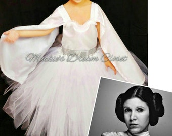 Baby girl toddler princess Leia traditional star wars tutu dress costume white silver birthday present ships free handmade to order sleeves