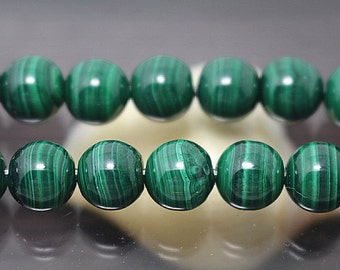 5 mm Natural Malachite Stone Beads, 15 inch one strand