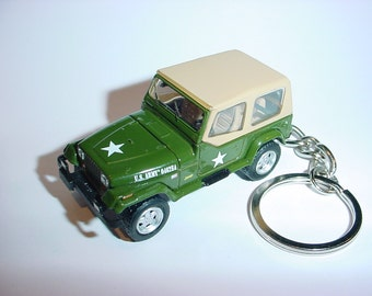 3D 1995 US ARMY Willys Jeep custom keychain by Brian Thornton keyring key chain finished in dk green color factory trim 4x4 95