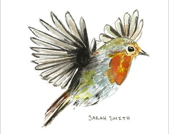 Robin Watercolor Painting Print, Robin picture, Robin Print, Wildlife Print, Birdwatcher Art, Nursery Print, Living room Print, Watercolor
