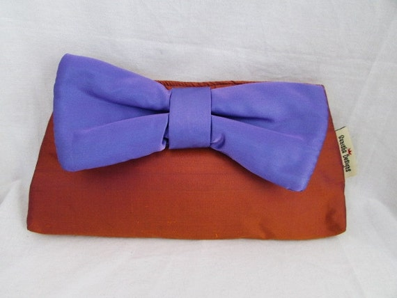 Silk Two Tone Bowtie Clutch