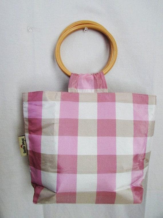 Preppy Plaid Wood-Handle Handbag