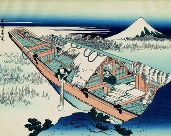 "Japanese Ukiyo-e Woodblock print, Katsushika Hokusai, ""Ushibori in Hitachi Province, from the series Thirty-six Views of Mount Fuji"""