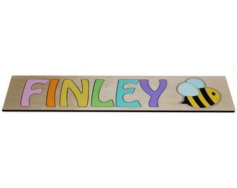 Bumble Bee Personalized Wooden Name Puzzle Child's Name SWICP_66