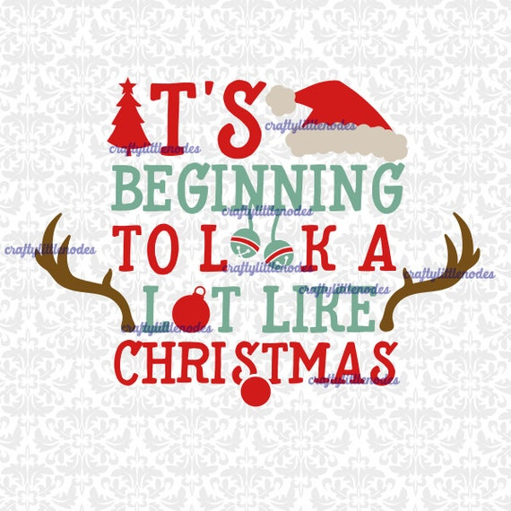 It's Beginning To Look A Lot like Christmas Rudolf Bells Santa Tree Ornament SVG STUDIO Ai EPS Scalable Vector Instant Download Cutting FIle