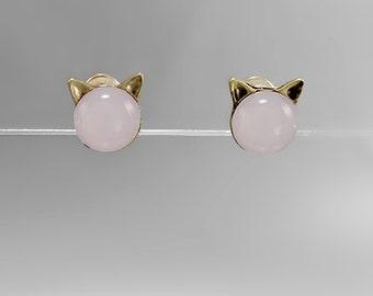 Pale Pink Cat Ear Stud Earrings