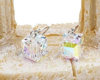 Simple square crystal earrings