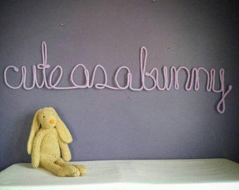 Bunny Nursery Decor, Bunny Decor for Nursery, Wire Sign, Yarn Wall Hanging, Cute As A Bunny Sign, Bunny Nursery Theme, Bunny Nursery Art