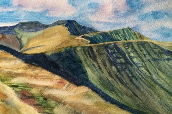 Pen y Fan, Wales, Brecon Beacons, Wales painting, Welsh landscape, South Wales, Wales watercolor, watercolor landscape, Welsh mountains