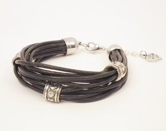 Black leather and silver heart bracelet