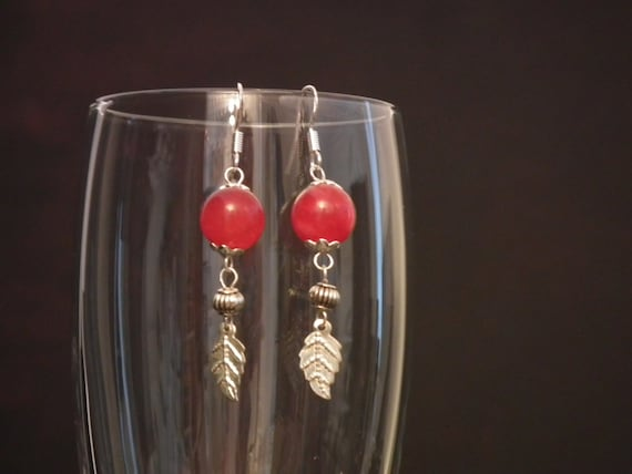 Beautiful Red Jade & 925S Silver Earrings