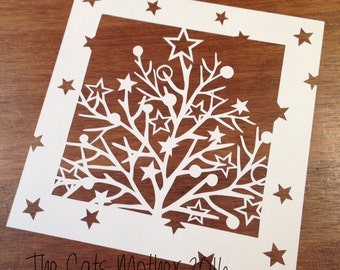 Twiggy Tree Christmas Themed Paper Cutting Template - Commercial Use