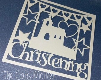 Christening Paper Cutting Template - Commercial Use