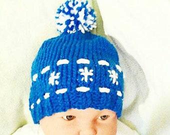 Knit Baby Hat Blue Baby Boy Hat Knit Boy's Hat Blue Baby Hat Blue Baby Shower Gift Boys Hats Blue Baby Hat Winter Hat Preemie Hat Infant Hat