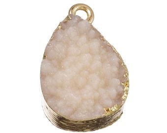 10PCs NEW Fashion Beige Teardrop Shape Resin Pendant Jewelry 21x13mm