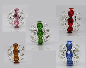 10 Mixed SP Hollow Rhinestone Spacer Beads 10x9.5mm