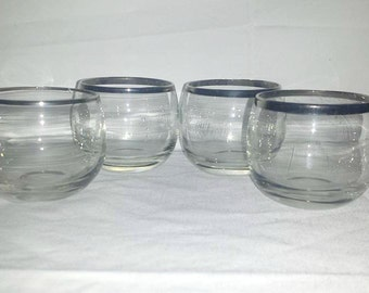Mid Century Silver Rimmed Roly Poly Glasses, Set of 4,Barware,Tumblers,1960s,Mad Men,Silver Barware,Thorpe Style,Roly Poly,Whiskey Glasses