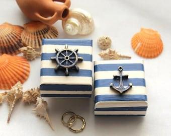 Beach  Ring Box, Coastal Beach Wedding Ring Box, Anchor Ring Box, Rudder Ring Box, Deep Blue Ring Box, Outdoor  Ceremony, Navy Blue Wedding