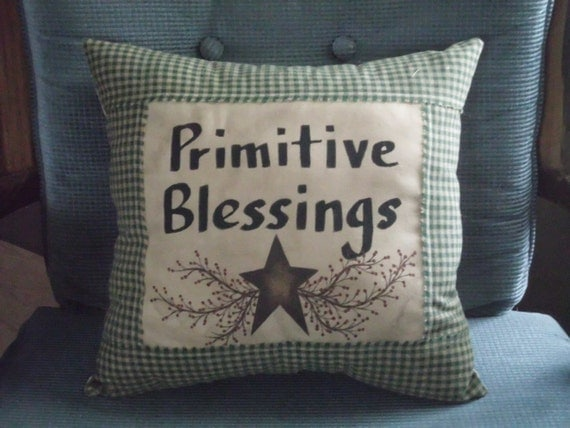 Decorative Primitive Pillows : Items similar to Decorative Pillow, Primitive Pillow, Primitive Blessings, Green White Pillow ...