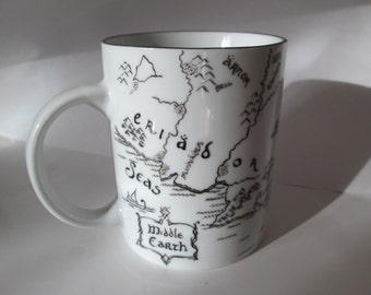 A map. The Lord of the Rings style. Black and White. Personalise your mug!
