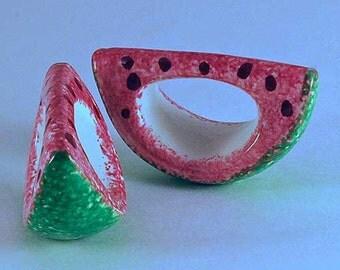 Watermelon Napkin Ring, Set of 4, New Ceramic