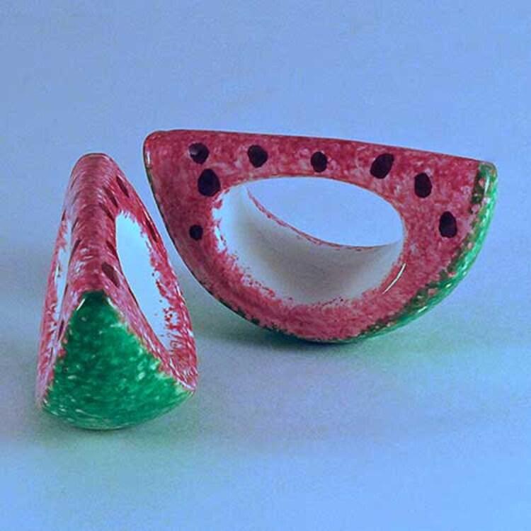 ceramic watermelon basket with handle