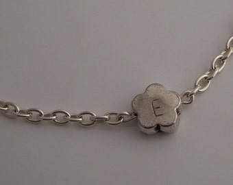 personalized flower bead handstamped bracelet