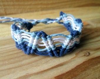 25% OFF -Surfer Hemp Bracelet Custom Charm EcoFriendly Bracelet Blue Macrame Cuff
