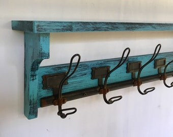 Rustic Coat Rack, Reclaimed, Hat Rack, Vintage Hooks, Entry Shelf, Farmhouse, Turqouise, Wedding, shabby chic