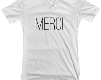 French Merci Woman's V Neck Graphic Tee 100% Cotton, Novelty Graphic Tee, Fashion Tee, France Lover, Gift for Fashionista