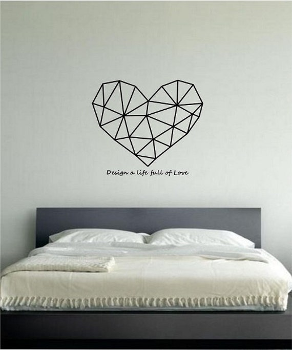 Geometric heart with quote vinyl wall decal sticker art decor for Bedroom furniture quotes
