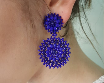 Statement Earrings,  Royal Blue Earrings, Blue Beaded Earrings by Detail London.