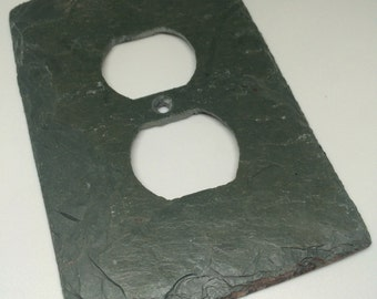 Decorative Single Outlet, Vermont Gray Green Slate Stone Rustic