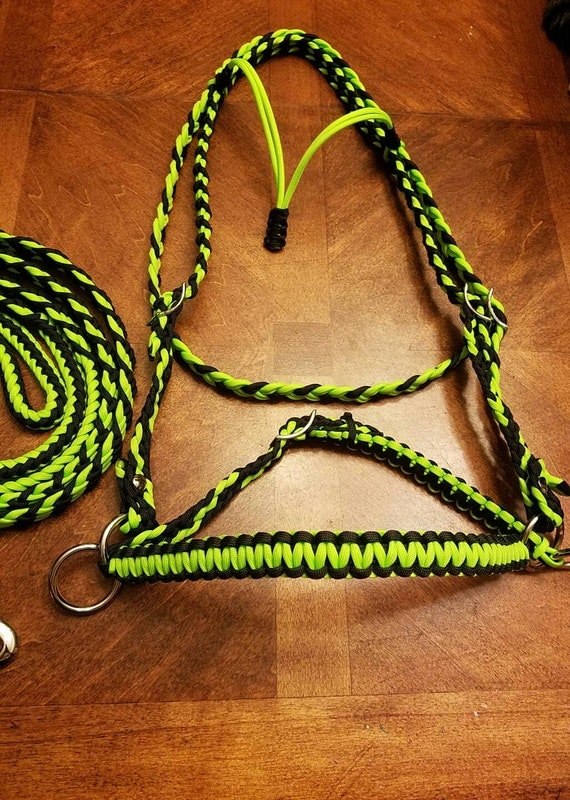 Horse tack paracord bitless bridle barrel reins standard for Paracord horse bridle
