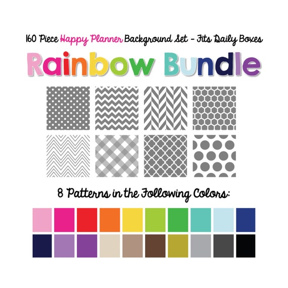 160 Piece Planner Background Set - Rainbow Bundle:  8 Patterns x 20 Colors  - Made to fit The Happy Planner Daily Boxes - Instant Download!