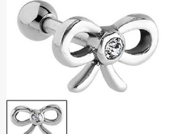 Surgical Steel Ribbon Bow With Clear Crystal Helix Bar ~ (16g) 1.2 x 6mm