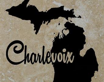 Set of 4 Charlevoix Michigan Coasters Free Shipping