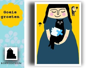 Card A6: bad luck bird/Good Greetings/get well card/postcard/Comfort map