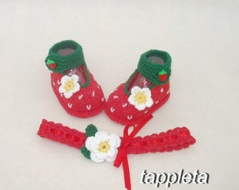 strawberry baby, booties and headband, red strawberry booties, baby girl knitted, babyshower, newborn photoprop, Strawberry Shoes, fotoshoot