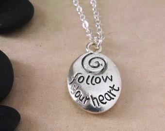 Follow Your Heart Charm Necklace, Inspirational Jewelry, Swarovski Crystal Necklace, Motivational Necklace, Mantra Charm, Spiral Necklace
