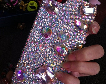 Unique Bling New Luxury Lovely Fashion Sparkles Charms Glossy AB Jewelled Crystals Rhinestones Diamonds Gem Hard Cover Case for Mobile Phone