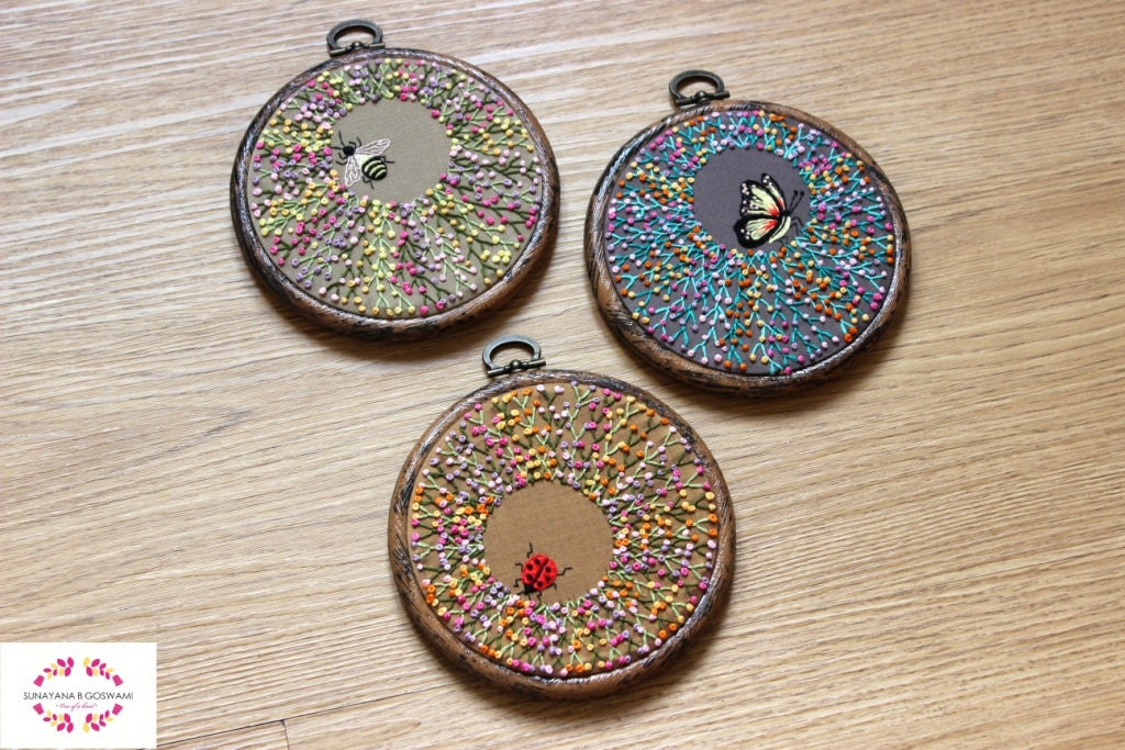 Embroidered Hoop Art On Silk Embroidery Hoop Wall Decor