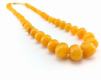 Stone agate jewelry, Yellow agate, agate, necklace, Semi precious stone, Jewellery, Stone necklace, Gift for her