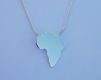 Sterling silver Africa map on silver snake chain, 925 jewellery